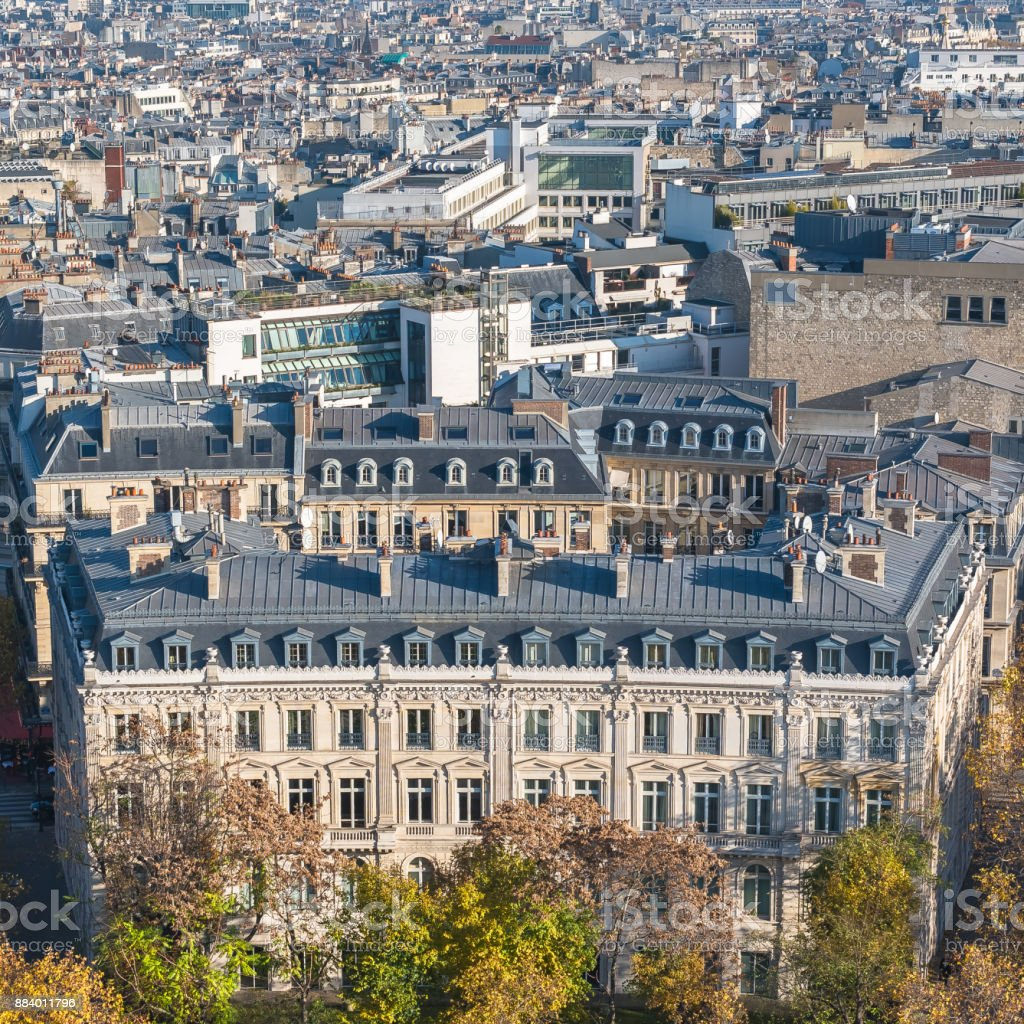 Paris, beautiful Haussmann facades and roofs stock photo