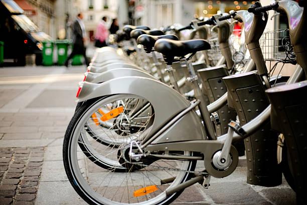 Paris bikes stock photo