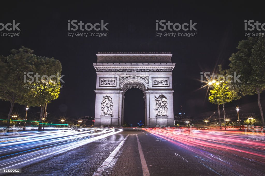 Paris by Night: Arc de Triumphe stock photo