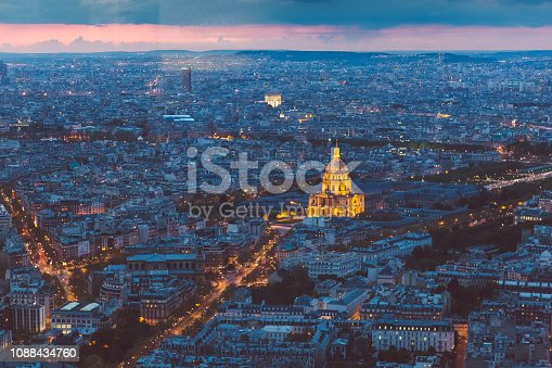 Above view of Paris city at evening