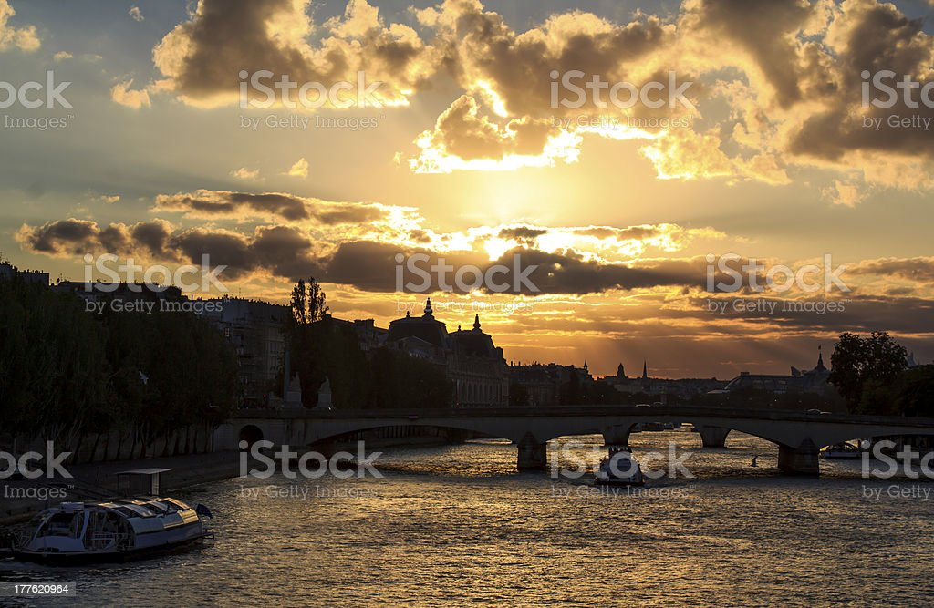 Paris by sunset royalty-free stock photo