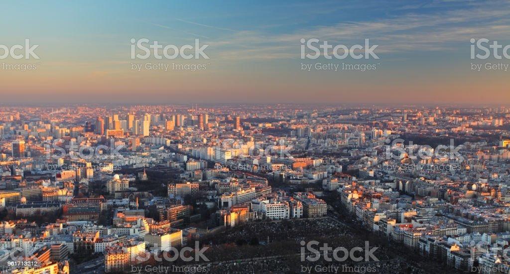 Paris city panorama - aerial view at sunset stock photo