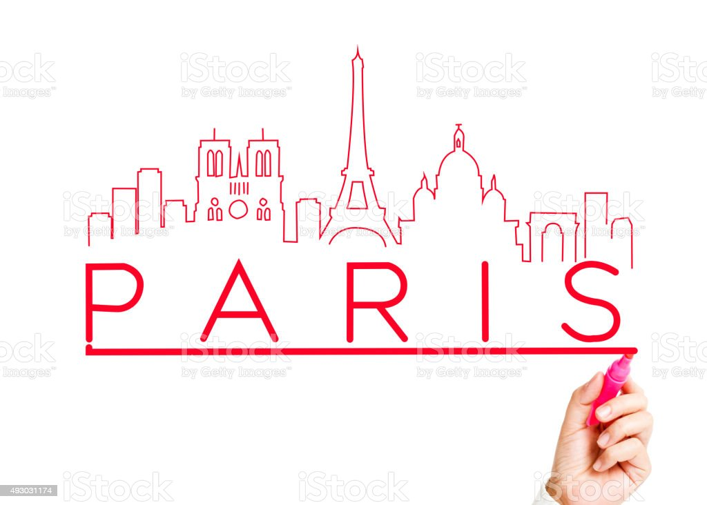 Paris City Skyline with Marker Drawing stock photo
