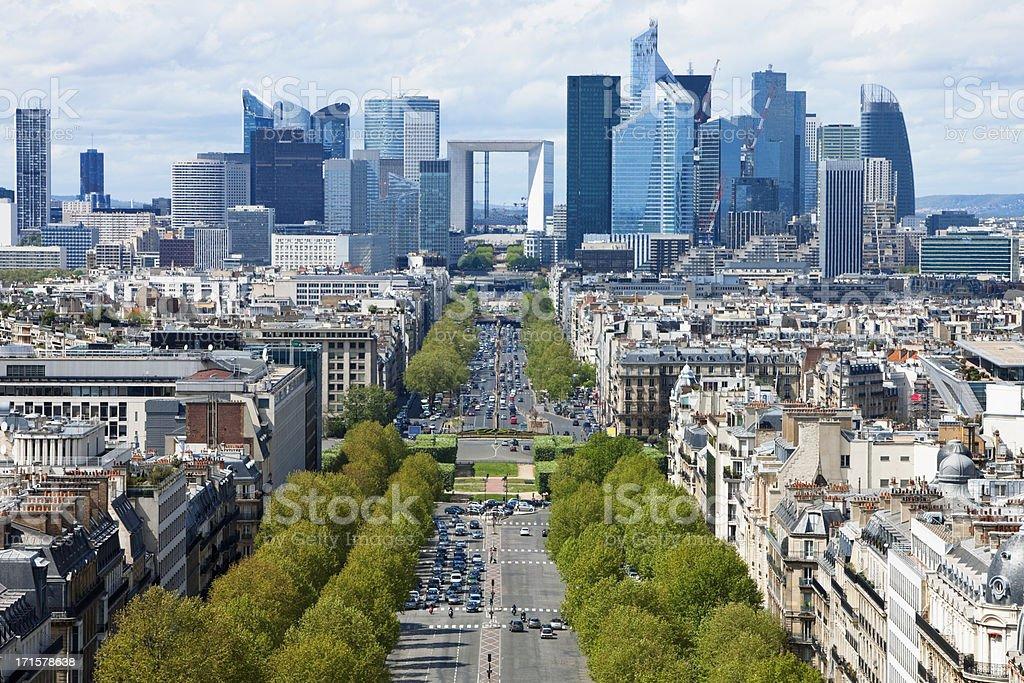 Paris City View Towards La Defense Financial District stock photo