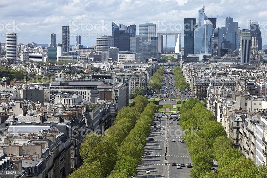 Paris City View with La Defense Financial District, France royalty-free stock photo
