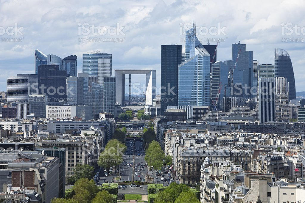 Paris City View with La Defense Financial District royalty-free stock photo