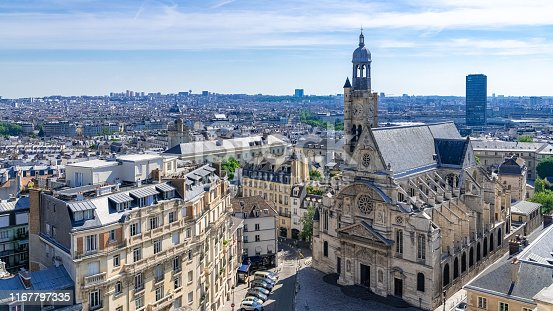Paris, cityscape, view of the Saint-Etienne-du-Mont church, typical roofs, aerial view from the Pantheon