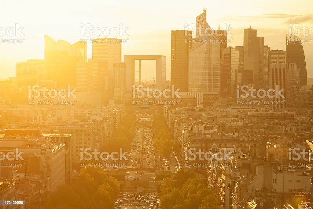 Paris Cityscape Against Sunset With La Defense Financial District royalty-free stock photo