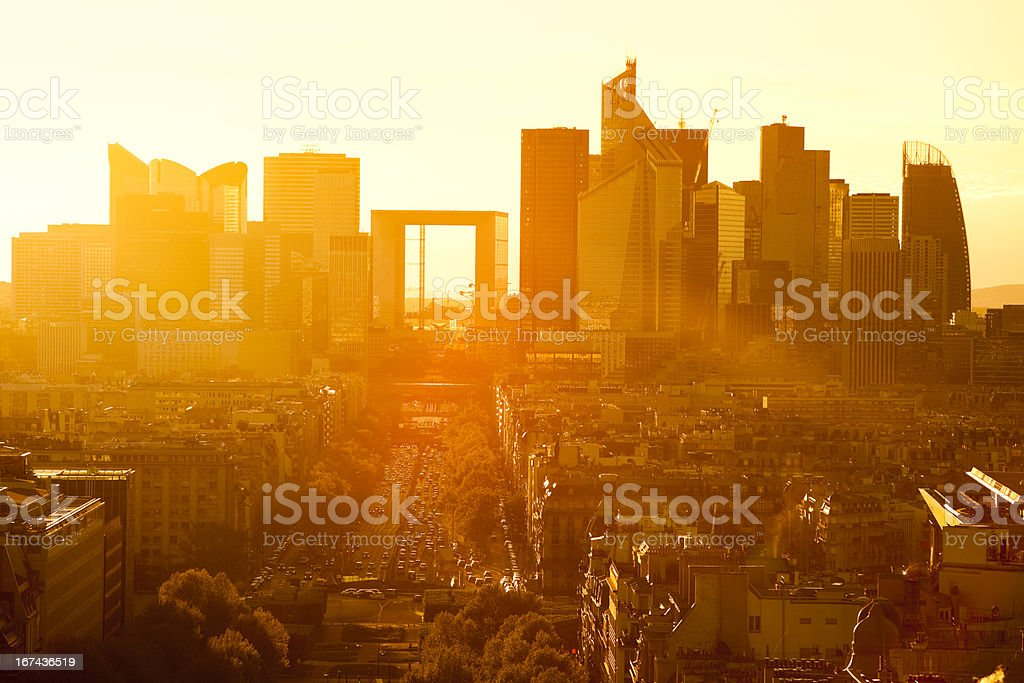 Paris Cityscape Against Sunset With La Defense, France royalty-free stock photo