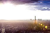 Paris cityscape, amazing aerial view of the Eiffel Tower and surroundings downtown area