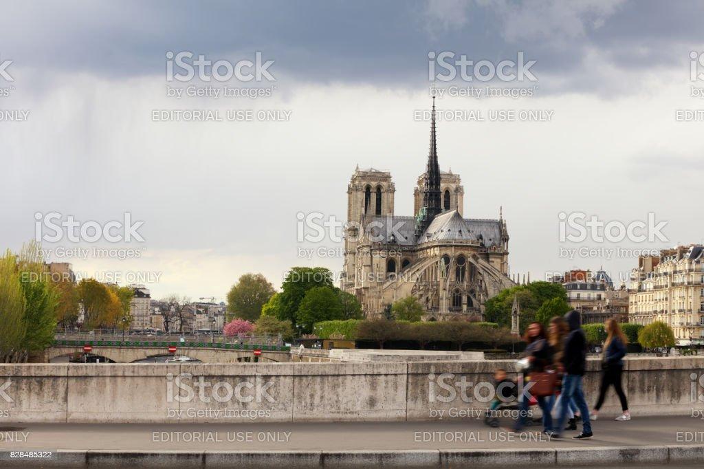 Paris cityscape from Pont de la Tournelle, France stock photo