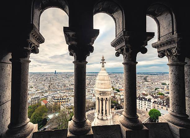 paris cityscape from sacre coeur - montmatre utsikt bildbanksfoton och bilder