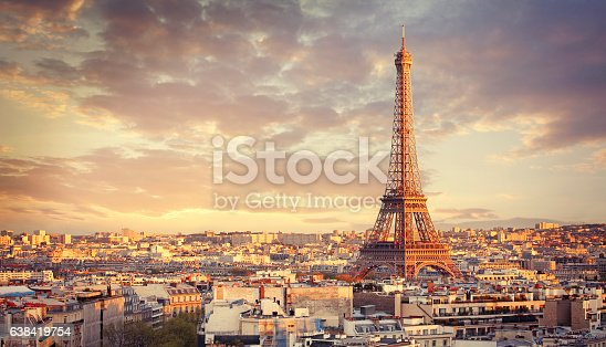 Eiffel tower and Paris city