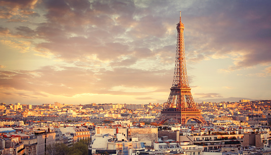 Eiffel tower and Paris city