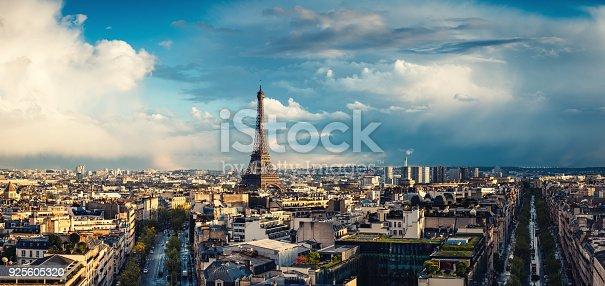 Paris cityscape at sunset (after the storm).