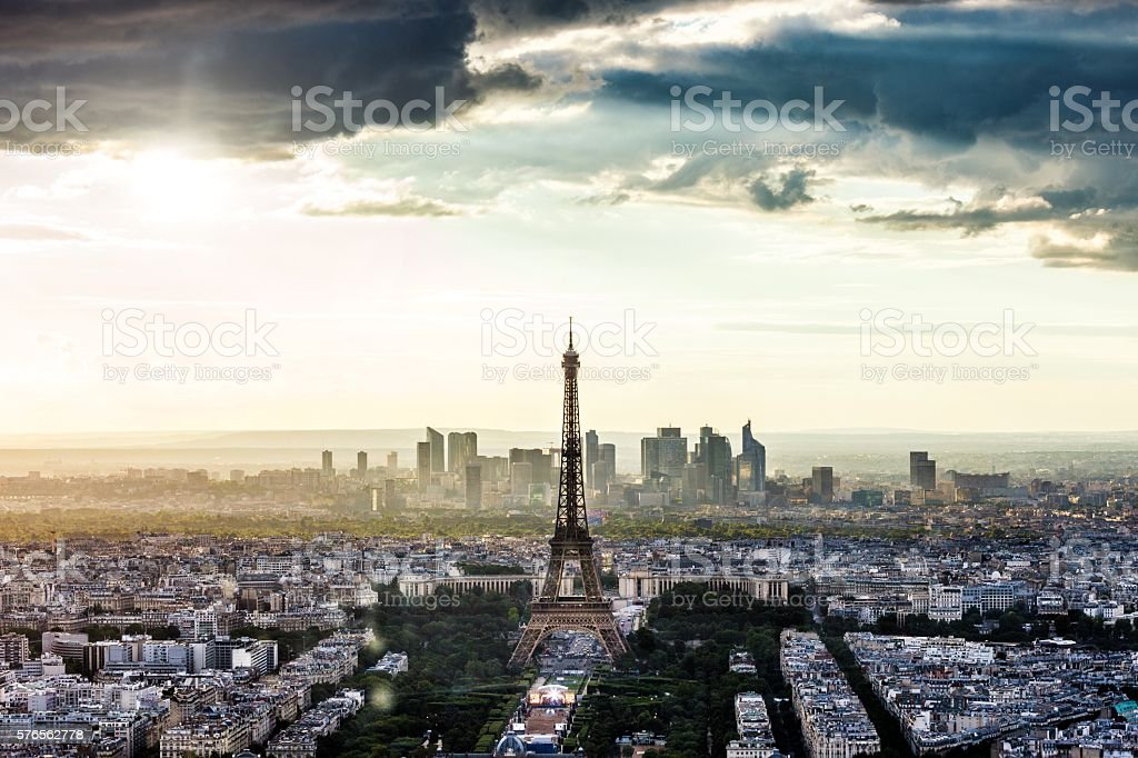Paris cityscape seen from an aerial point of view stock photo
