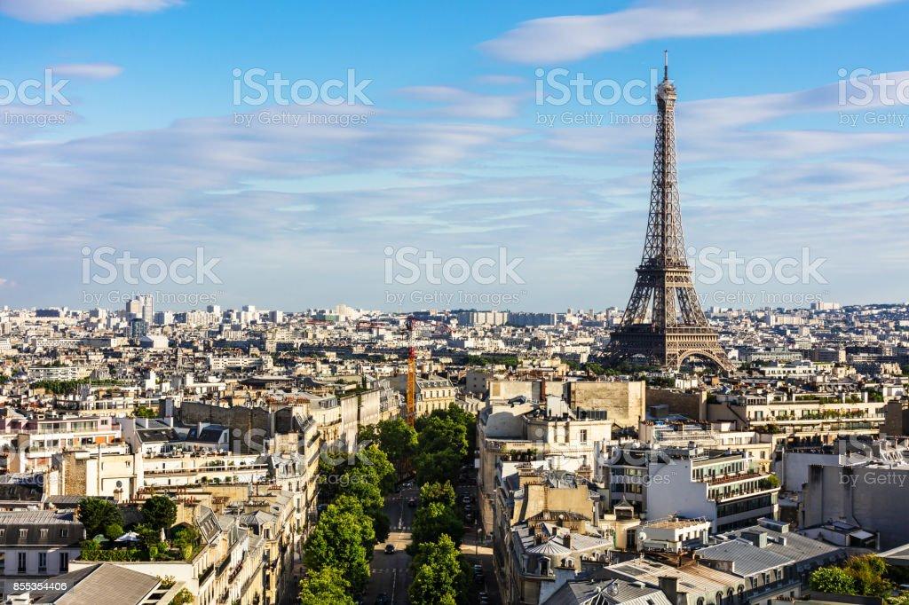 Paris cityscape with Eiffel Tower. Paris, France stock photo
