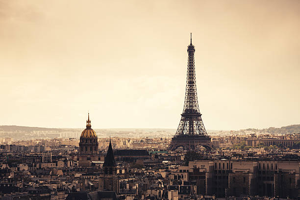 paris cityscape with eiffel tower - eiffel tower stock photos and pictures