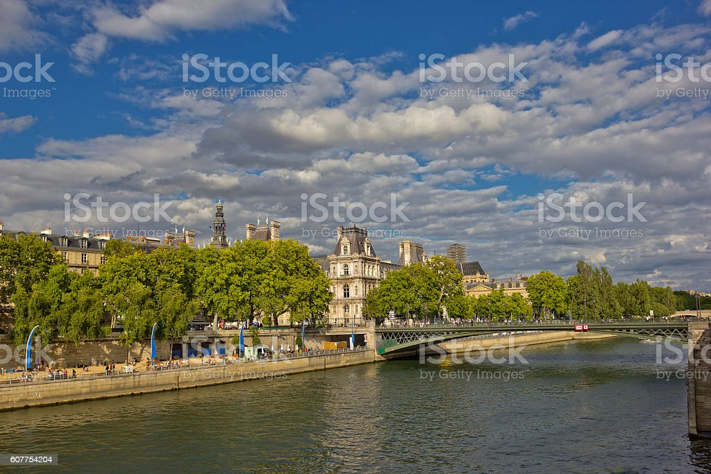 Paris cityscape with Seine, Hotel de Ville and bridge, France stock photo