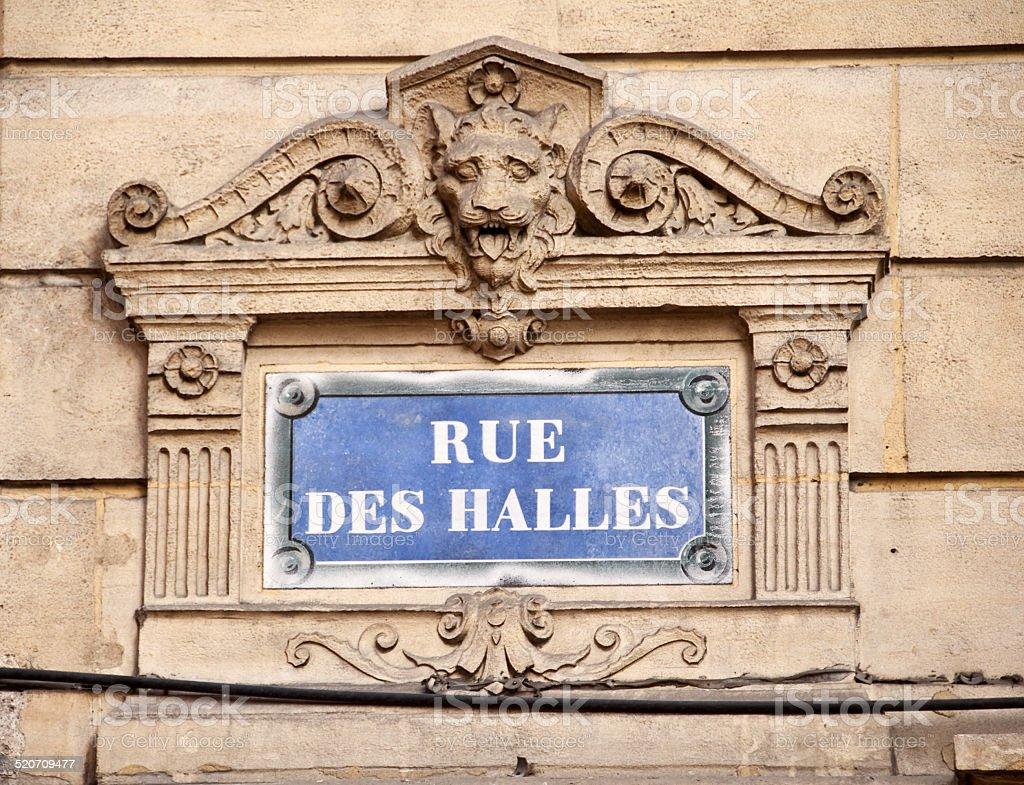 Paris classic blue street sign rue des Halles stock photo