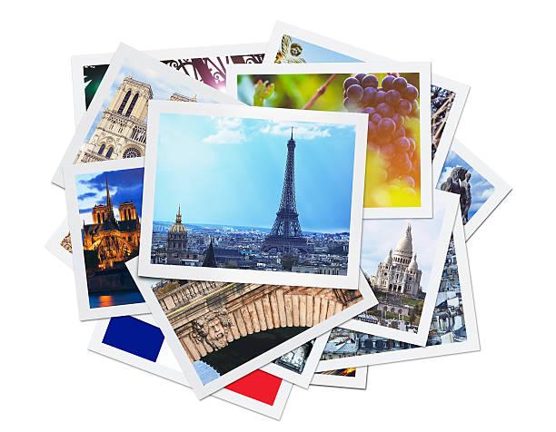 paris-collage (clipping-pfad) - karte ziehen stock-fotos und bilder