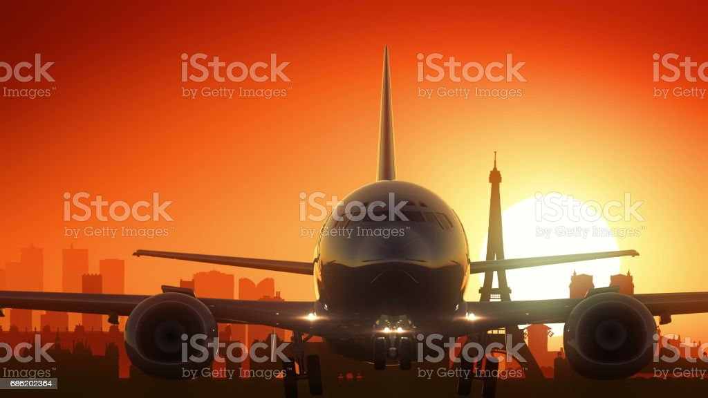 Paris Eiffel Airplane France Travel Background Take Off stock photo