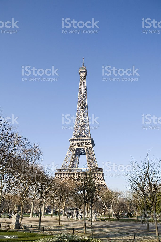 Paris Eiffel Tower and grounds at winter royalty-free stock photo