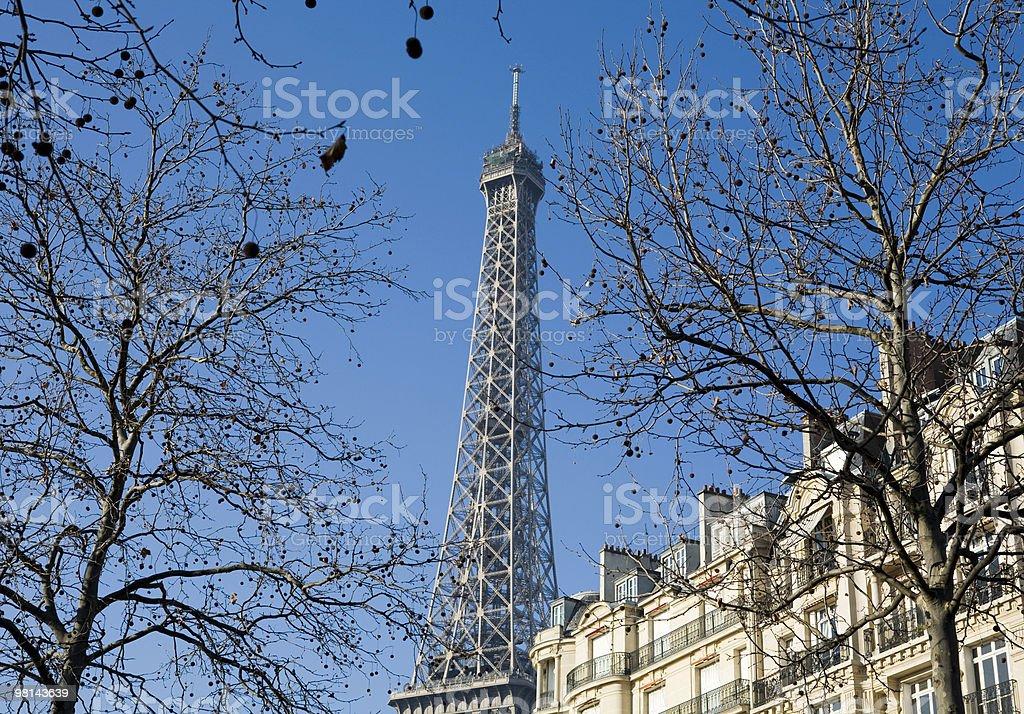 파리 에펠탑, 어파트먼트 및 나무 royalty-free 스톡 사진