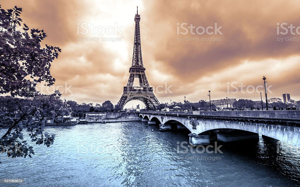Paris, Eiffel Tower from Seine. Vintage effect stock photo