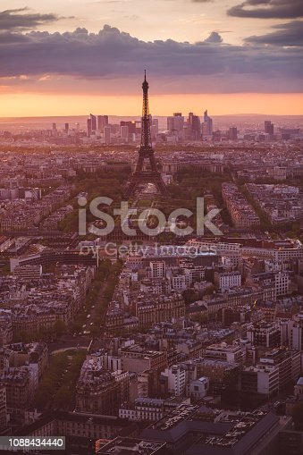 Paris cityscape with the Eiffel Tower at evening
