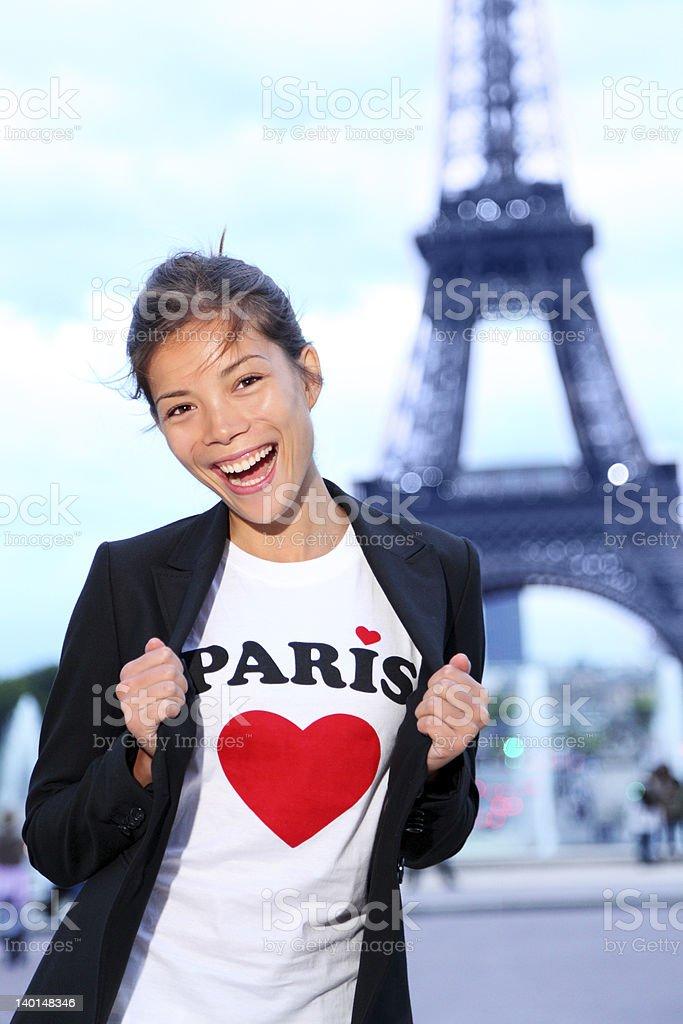 Paris Eiffel tower woman happy royalty-free stock photo