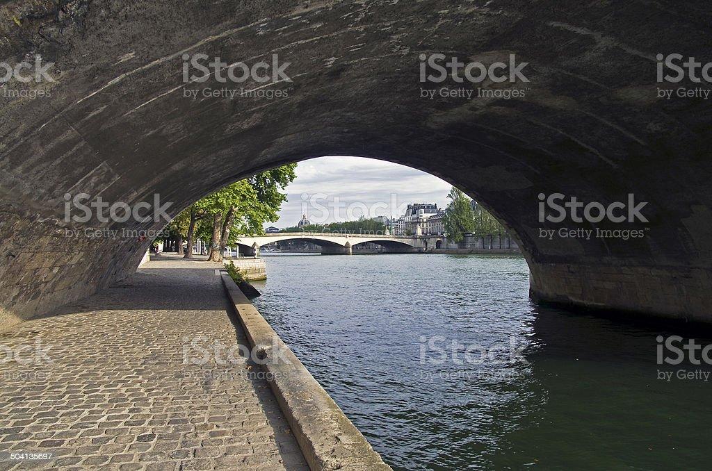 Paris. Embankment of the river Seine. stock photo