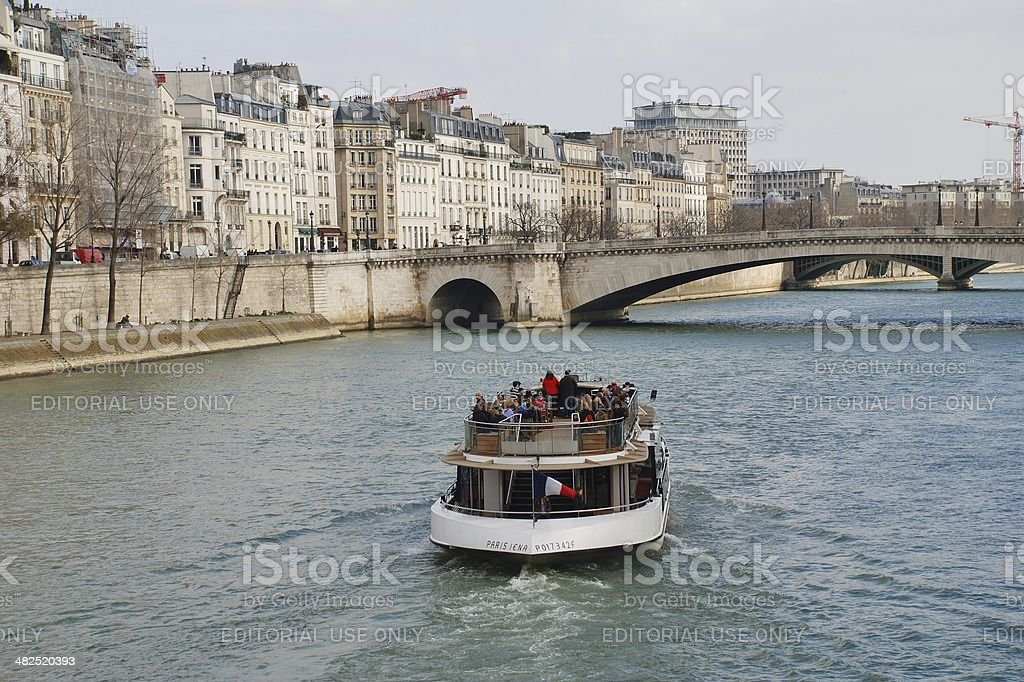 Paris excursion boat stock photo