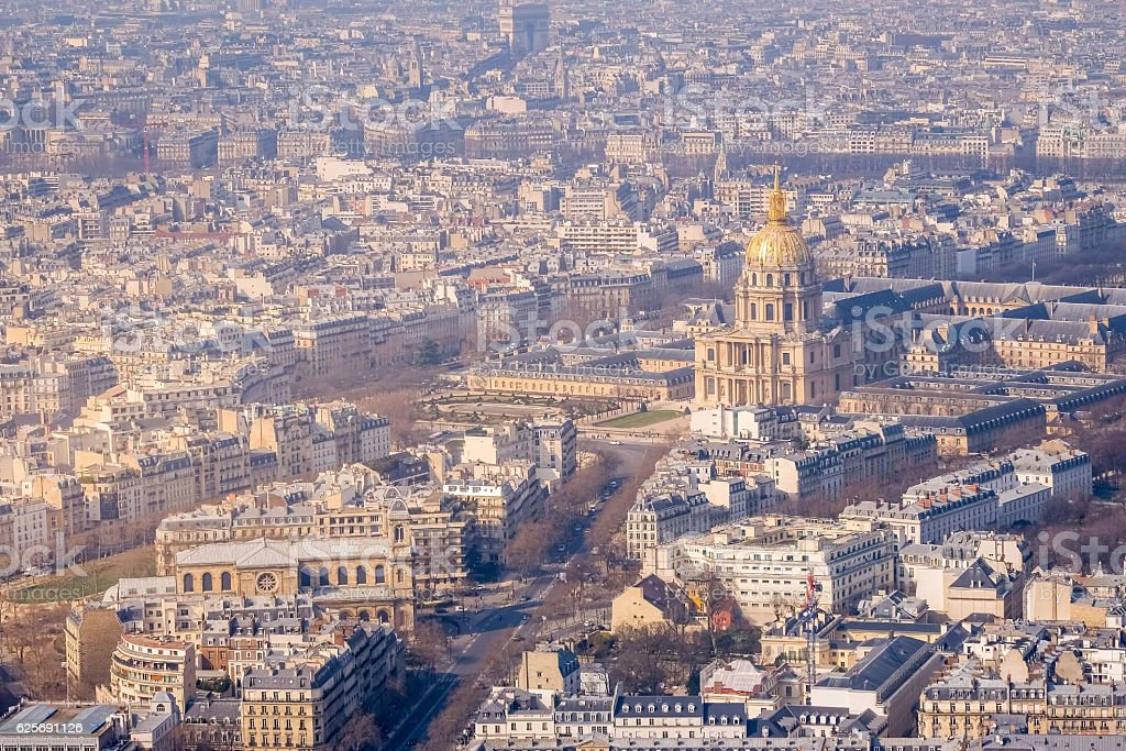 Paris, France - aerial city view with Invalides Palace stock photo
