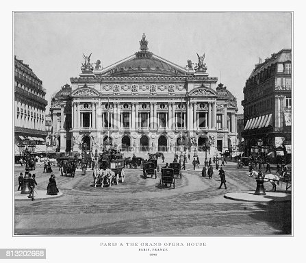 Antique Paris Photograph: Paris, France and the Grand Opera House, 1893. Source: Original edition from my own archives. Copyright has expired on this artwork. Digitally restored.