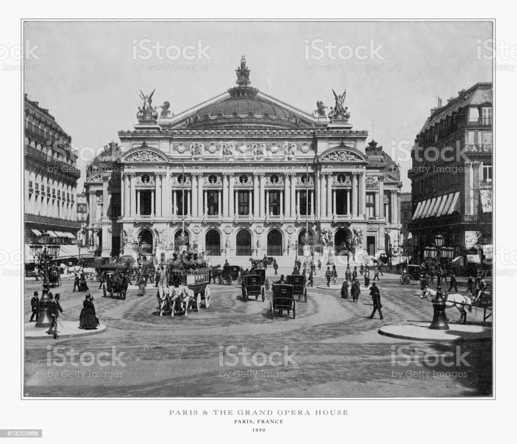 Paris, France, and the Grand Opera House, Antique Paris Photograph, 1893 stock photo