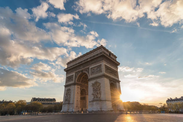 Paris France city skyline sunset at Arc de Triomphe and Champs Elysees empty nobody stock photo