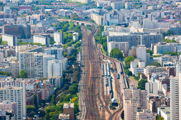 Paris, France cityscape. South Paris. Aerial view of major rail system heading further south into the suburbs ile de france stock pictures, royalty-free photos & images