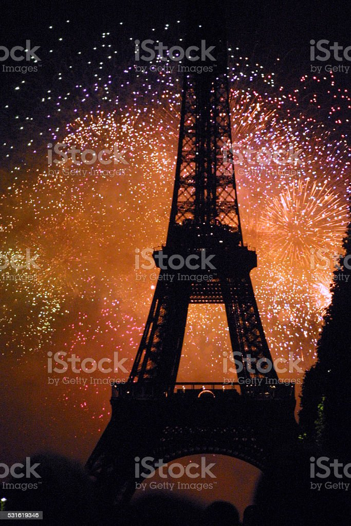 Paris France - Eiffle Tower with Fireworks stock photo