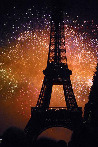 Paris France-tour Eiffle avec feux d'artifice - Photo