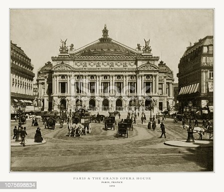 Antique Paris Photograph: Grand Opera House, Paris, France, 1893. Source: Original edition from my own archives. Copyright has expired on this artwork. Digitally restored.
