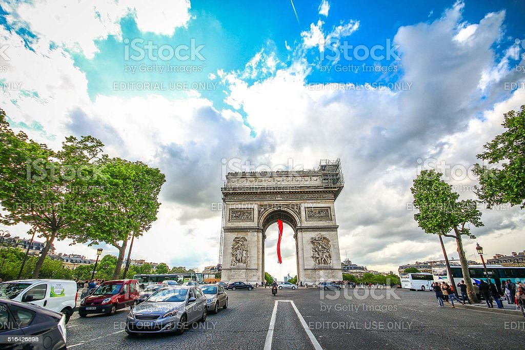 Paris, France - May 09, 2014 - Arc de Triomphe stock photo