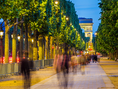 Arc de Triomphe along the Avenue des Champs-Élysées in Paris France