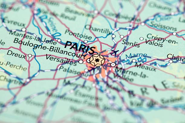 Paris, France Map of Paris. Selective Focus.  ile de france stock pictures, royalty-free photos & images