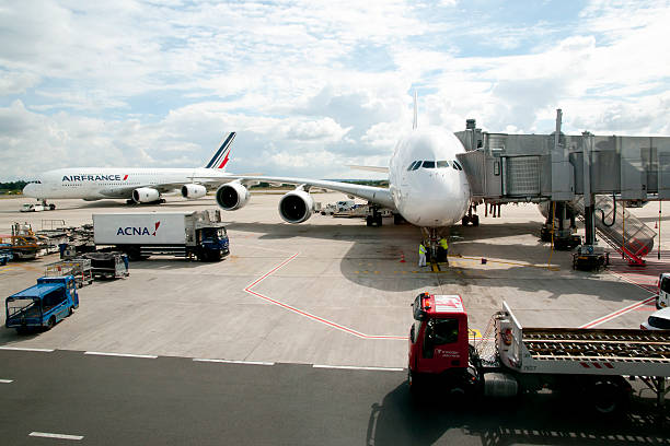 Paris - France Paris, France - July 13, 2016: Air France airplanes in CDG airport which is one of the top 10 busiest airports worldwide val d'oise stock pictures, royalty-free photos & images