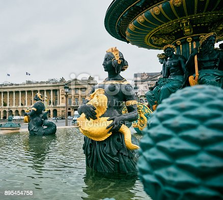 Paris, France - November 17, 2017: Place de la Concorde in the heart of the French capital city, close-up of the fountain