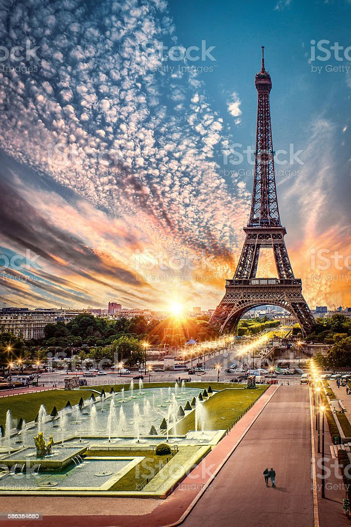 Paris France Sunset By Eiffel Tower Stock Photo Download