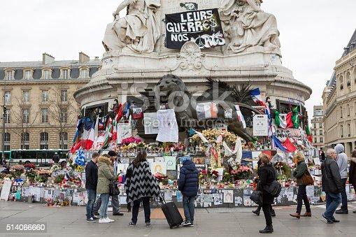 istock Paris, France Terrorism Attack Memorial (13 November 2015) Place Republique 514066660
