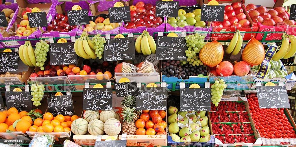 Paris: Fruit stand in Paris 2015 stock photo
