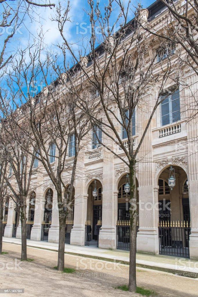 Paris, gardens of Palais Royal stock photo